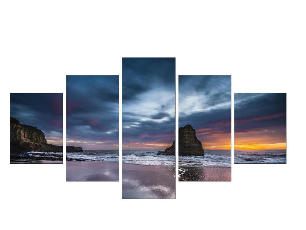 Beach Sunset Waves on Framed Canvas Wall Art Prints Nature Landscape Pictures