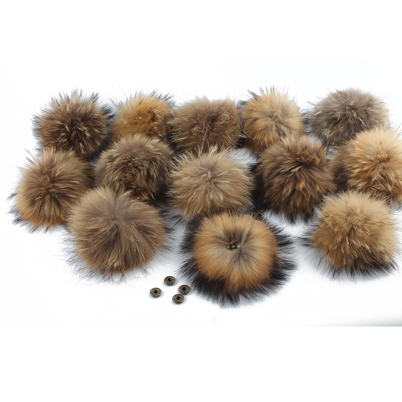 Wholesale Real Natural Raccoon Fur Pompom For Hat Big 15cm DIY Fur Pom Pom With Snap Handmade Genuine Fur Ball Accessories