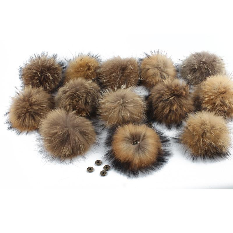 Wholesale Real Natural Raccoon Fur Pompom For Hat Big 15cm DIY Fur Pom Pom With Snap Handmade Genuine Fur Ball Accessories