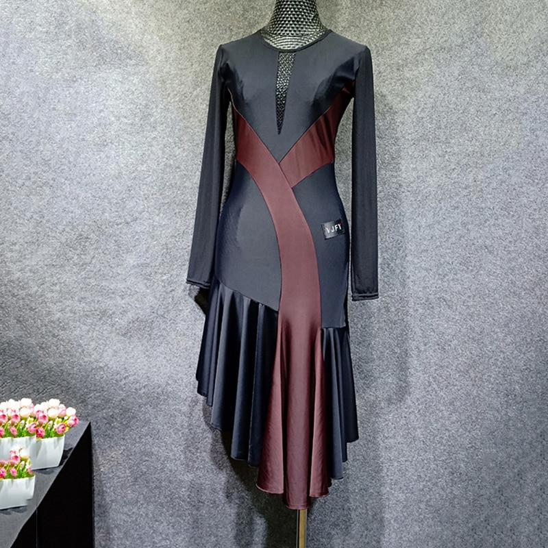 Slim Latin Dance Dress For Women Fashion Stitching Color Tango Rumba Practice Dresses Long Sleeve Ballroom Samba Clothing DC1390