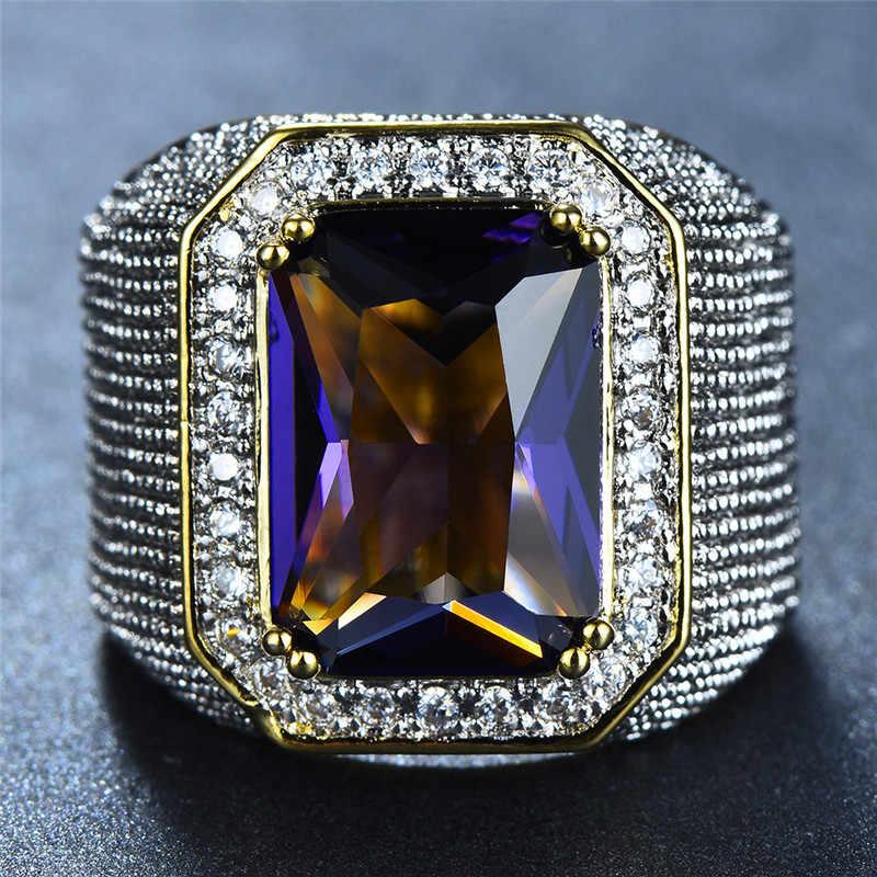 Wspaniały duży mężczyzna kobieta różowy żółty niebieski biały pierścień kryształ cyrkon kamień złoty pierścionek zaręczynowy mężczyźni kobiety duże obrączki
