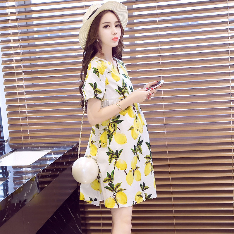 Glittery Sweet Cotton Womens Dress Loose Summer Short Sleeve Pregnant Clothes Printing Fruit Pregnant clothes