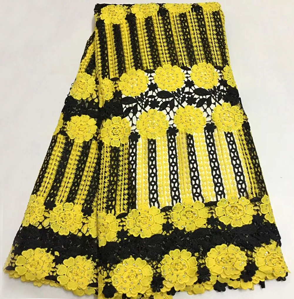 New Black+Yellow Color Water Soluble Cord Lace Fabric High Quality Women Dresses Material African Embroidery Guipure Cord Lace New Black+Yellow Color Water Soluble Cord Lace Fabric High Quality Women Dresses Material African Embroidery Guipure Cord Lace