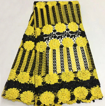 New Black+Yellow Color Water Soluble Cord Lace Fabric High Quality Women Dresses Material African Embroidery Guipure Cord Lace