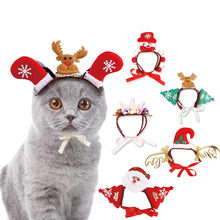 Pet dog cats headdresses for Christmas and Halloween Pet cat headgear Santa headwear hats dog cat cosplay dressing up props(China)