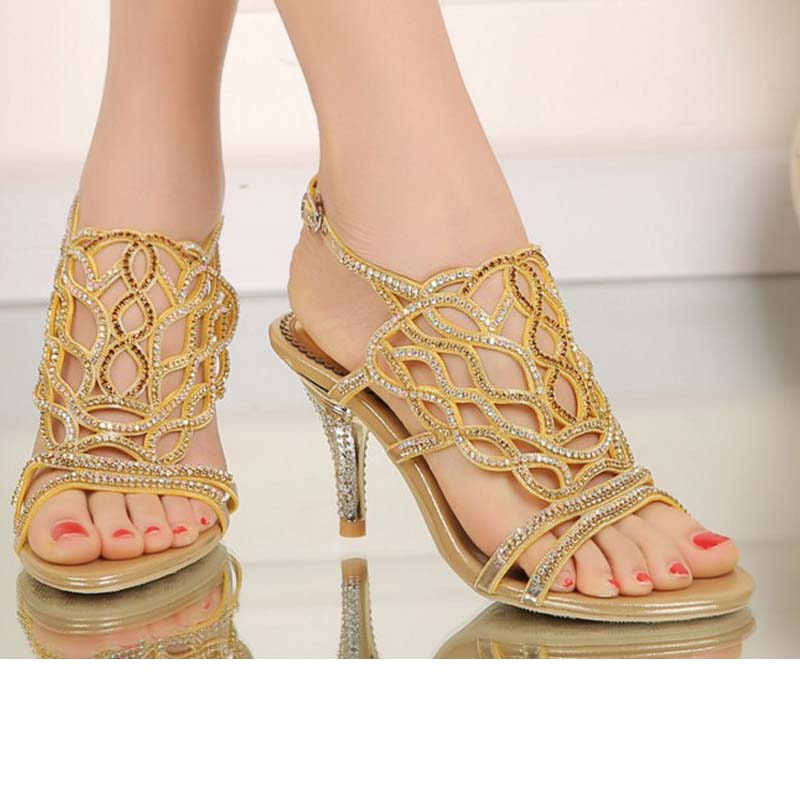 women summer hollow gladiator open toe high heels sandals bling bling party wedding shoes ladies dress open toe sandalias buckle women shoes for summer open toe mesh laser gladiator sandal boots buckle strap thin high heels sandalias mujer ladies shoes