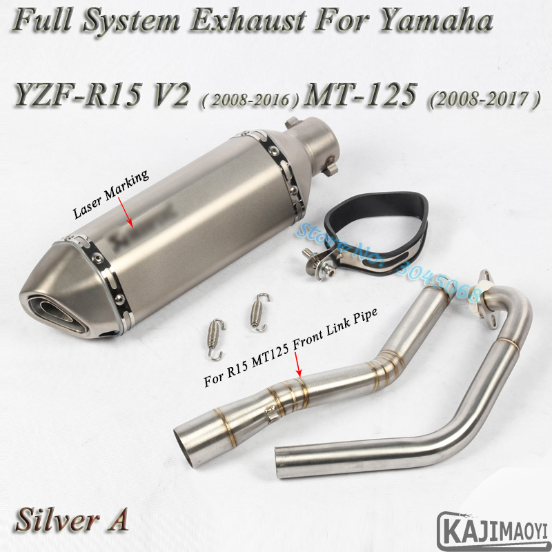 R15 Motorcycle Full System Exhaust Escape Slip-on For Yamaha YZF-R15 V2  MT-125 Modified Front Connection Pipe Muffler DB Killer