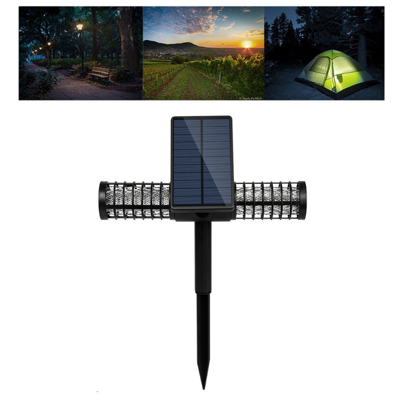 Dual-Use Solar Powered Mosquito Killing Lamp Outdoor Fly Insect Killing Trap Bug Zappers UV LED Lamp Light