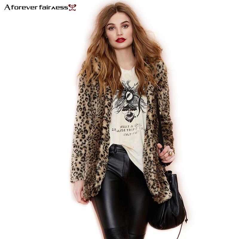 A Forever S 6XL Plus Size Winter Women Custom Fur Coat Faux Fur Leopard Coats Fashion