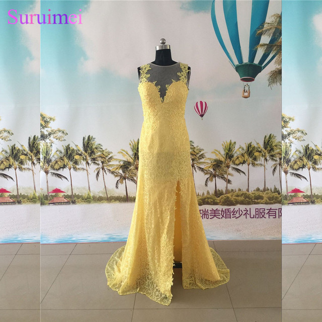 Yellow Evening Dresses Lace High Neck Nude Back See Through Side