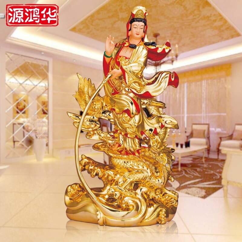 Source Honghua artisanat résine ornements placage bouddha doré équitation un dragon Guanyin bouddha ornements ameublement