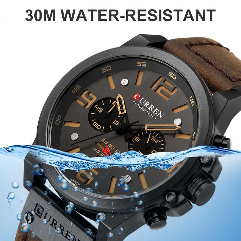 CURREN שעון גברים של אנלוגי קוורץ שעון יד גברים שעון יוקרה למעלה מותג אופנה צבא צבאי ספורט שעונים רצועת עור שעון