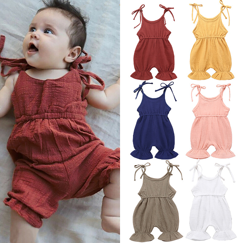 Short Sleeve Cotton Rompers for Baby Girls Boys Soft Korea Flag Dog Paw Crawler