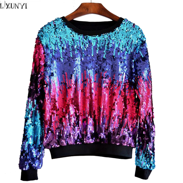 c457e27d8f European Personality Sequin t-shirts For Women Long Sleeve Gradient Punk Women's  Tops Fashion O