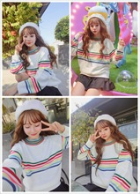 Harajuku Cute Sweet Rainbow Stripe Loose Long Sleeve