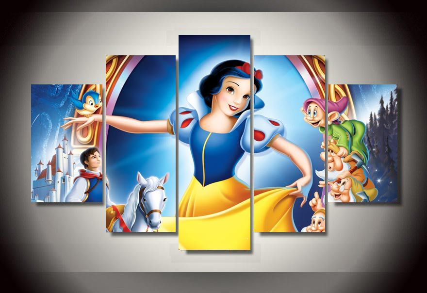 Framed Printed Cartoon Snow White Group Painting Childrens Room