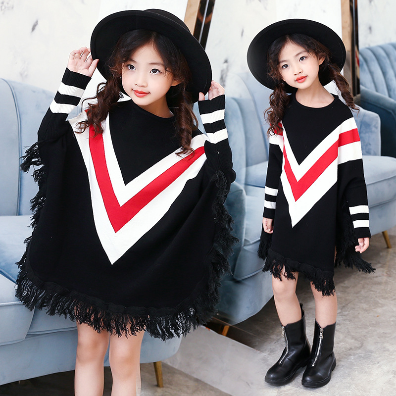 2018 Herbst Neue Weibliche Kinder Flut Kühle Koreanische Mode Großen Jungen Street Stil Quaste Fledermaus Shirt Pullover Außerhalb Weich Und Rutschhemmend