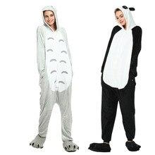 120da41508baf2 Totoro Kigurumi piżama dla pary zima flanelowe Panda piżamy Onesies Kigurumi  Unicornio dorosłych zwierząt kobiety piżama