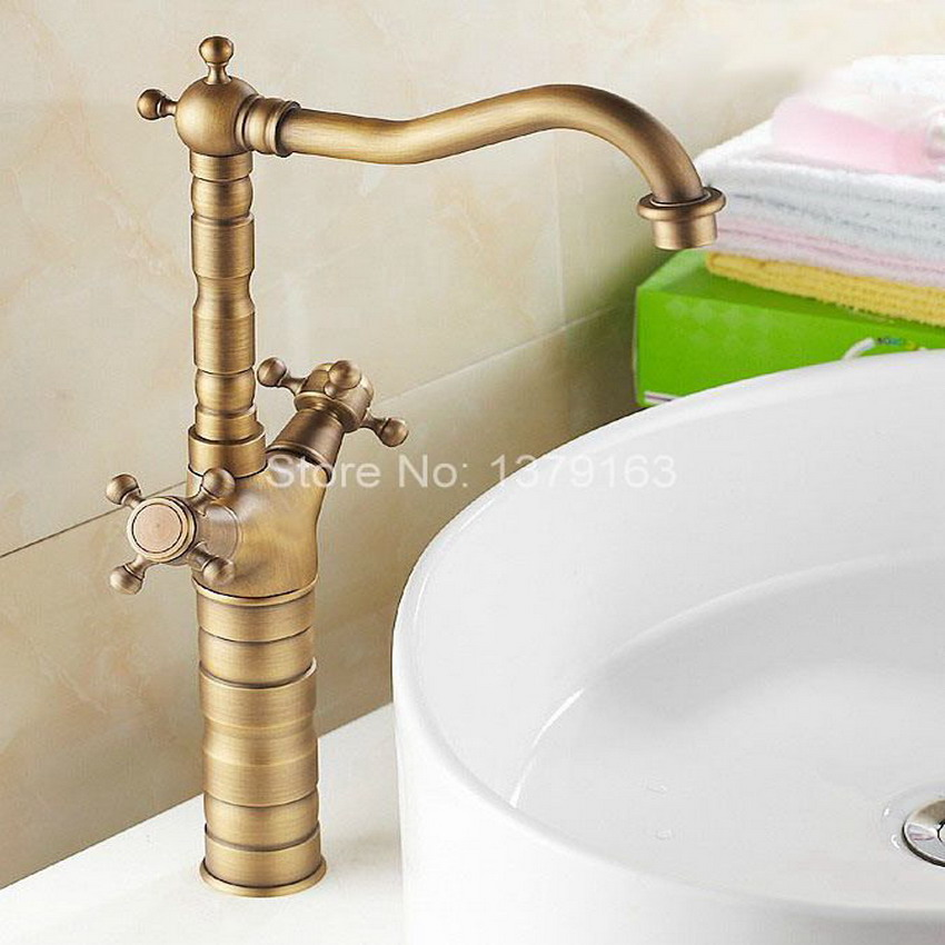 Antique Brass Dual Cross Handles Swivel Kitchen Bathroom Sink Basin Faucet Mixer Taps anf103 antique brass dual cross handles swivel kitchen bathroom sink basin faucet mixer taps anf003