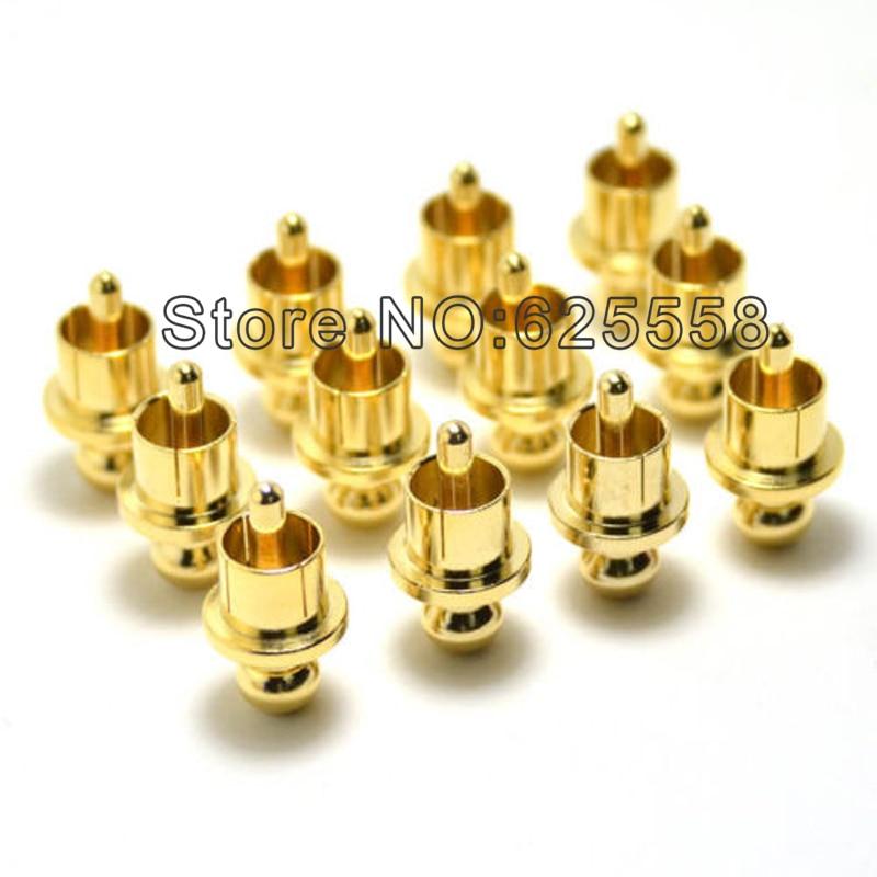 12 pcs x Bruit Stopper Or Plaqué Cuivre Bouchon Anti-Poussière Protecteur RCA Plug Caps