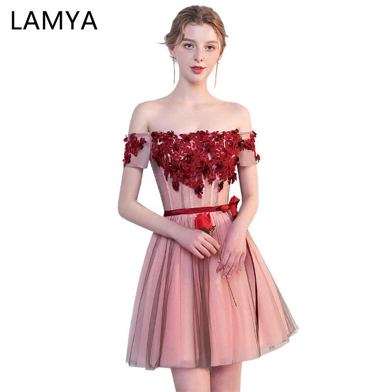 LAMYA court contraste couleur robes de bal robe de soirée robe de soirée 2019 pas cher grande taille robe de retour pour les femmes