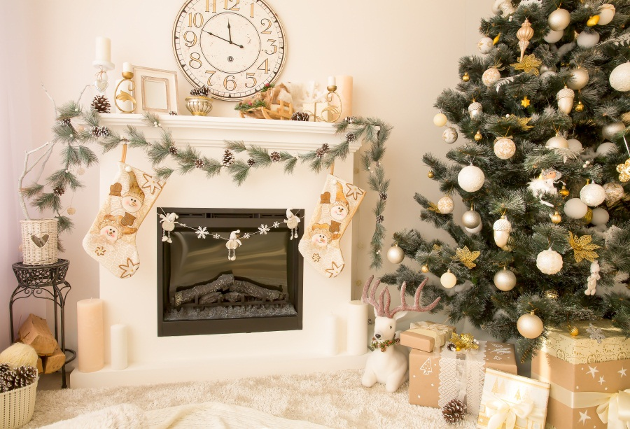 Indoor Fireplace Christmas Tree Photography Background: Laeacco Photography Backdrops Christmas Fireplace Tree
