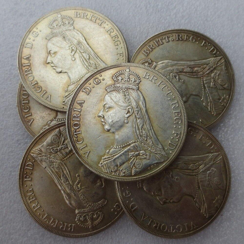 Inglaterra Reino Unido 1887-1892 una corona Queen Victoria copia ...