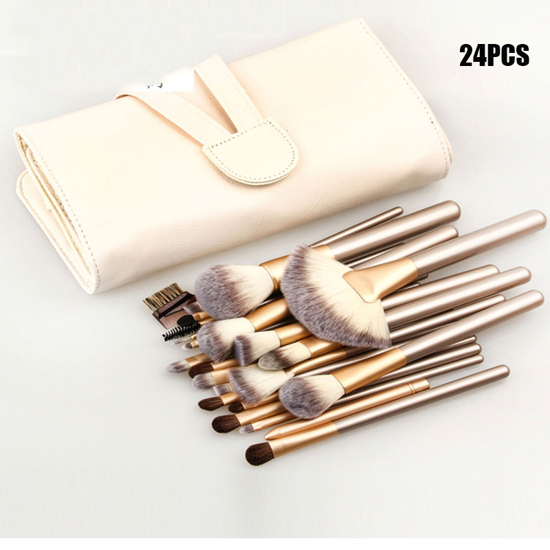 Profissional Macio 12/18/24 pcs Pincéis de Maquiagem Conjunto de Cosméticos Make Up Tools Foundation Eyeshadow Blush Kits + bolsa de maquiagem de couro