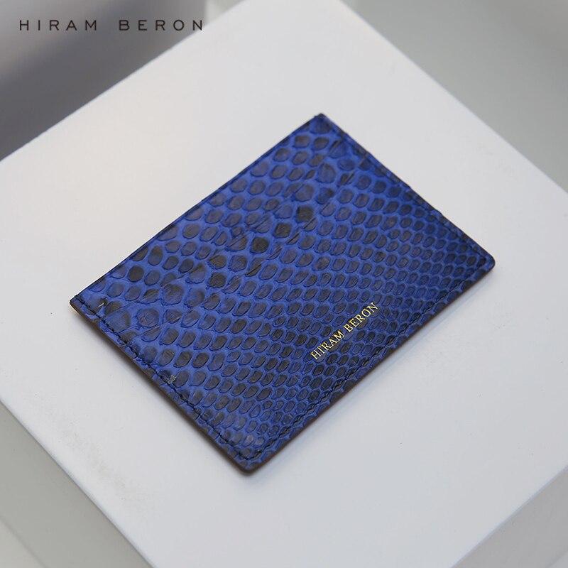 Hiram Beron luxe peau de serpent porte-carte pour hommes mince portefeuille nom personnalisé boîte-cadeau livraison directe