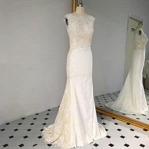 Image 1 - RSW1431 Sleeveless V Ausschnitt Zurück Meerjungfrau Spitze Elfenbein Und Champagner Farbe Hochzeit Kleid