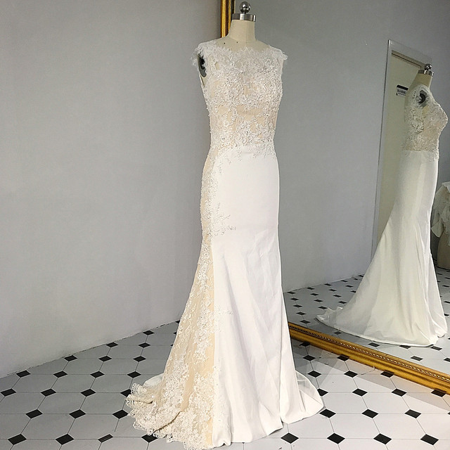 RSW1431 Sleeveless V Ausschnitt Zurück Meerjungfrau Spitze Elfenbein Und Champagner Farbe Hochzeit Kleid