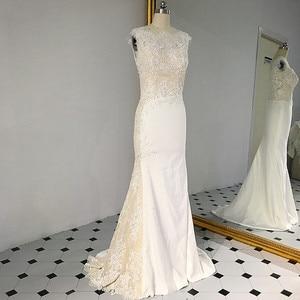 Image 1 - RSW1431 sans manches décolleté en V dos sirène dentelle ivoire et Champagne couleur robe de mariée