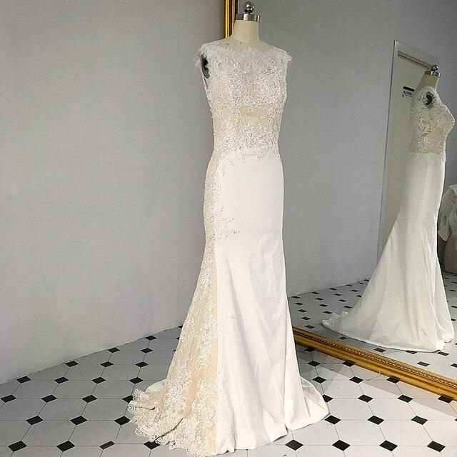 RSW1431 sans manches décolleté en V dos sirène dentelle ivoire et Champagne couleur robe de mariée