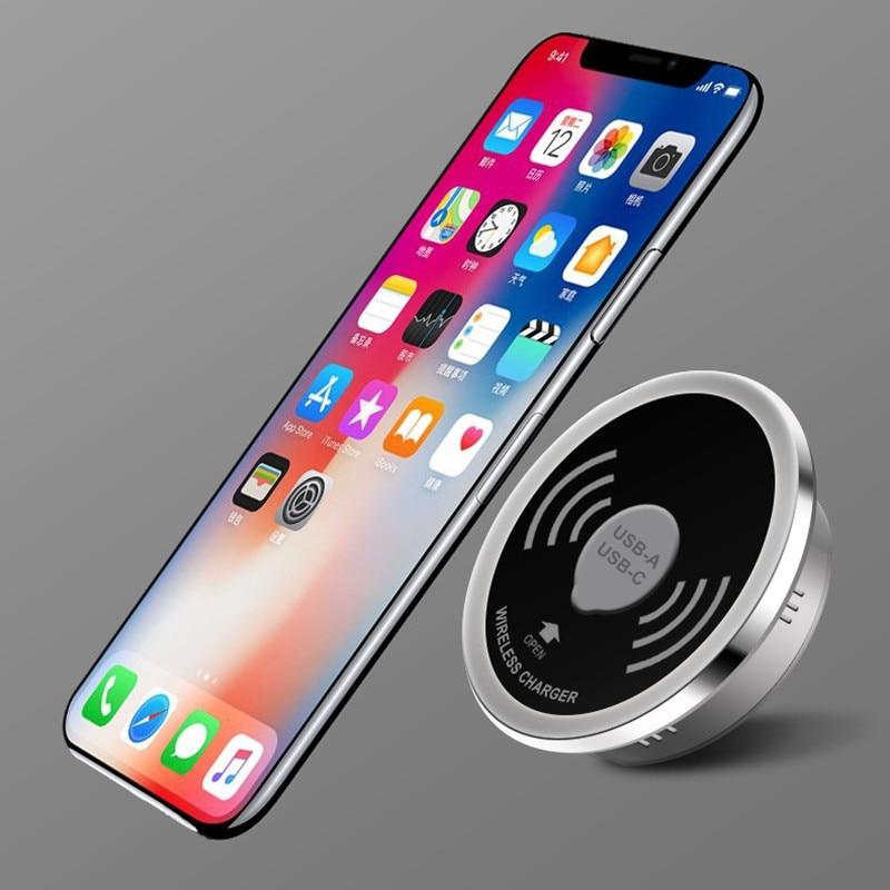 QuTiger 15 W Qi cargador inalámbrico para iPhone X 8 Samsung Galaxy Note 8 S9 S8 Borde de escritorio de teléfono móvil rápido de carga inalámbrica