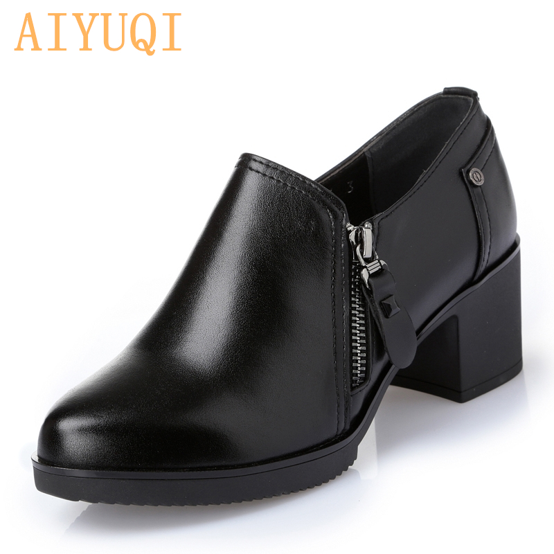 Women Shoes Waterproof Genuine Leather High-heeled Women's Singles Shoes High Quality Fashion Ladies Casual Shoes Boots