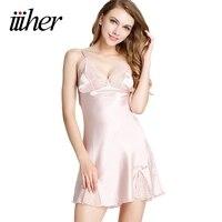Iiiher Nuit Robe Profonde V Cou Dentelle Rose Satin Chemises de Nuit Femmes Sexy Lingerie de Nuit Robe De Nuit Nuisette Femme Pijamas