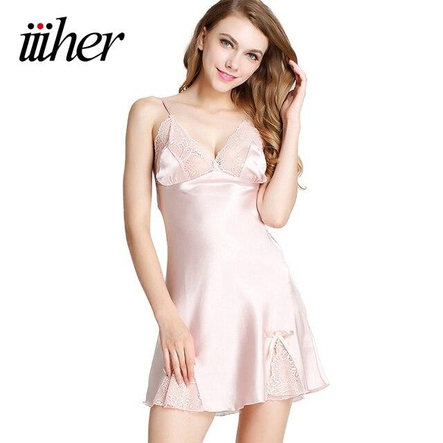 71a780e86e iiiher Night Dress Deep V Neck Lace Pink Satin Nightgowns Women Sexy  Lingerie Sleepwear Nightwear Dress Nuisette Femme Pijamas