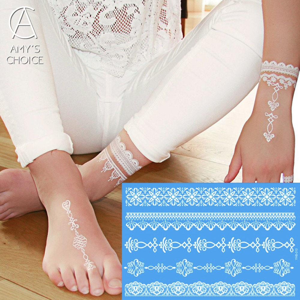 Waterproof Metallic Gold Silver White Temporary Tattoo For India Henna  Lace Pattern