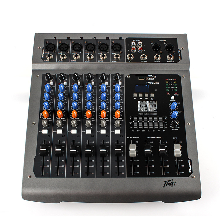 PV6 6 Road with MP3/USB Mixers Effects Processors microphones are balanced DJ Professional Performance Stage Party Effects Mixer