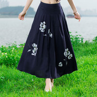 Fashion 2016 Women Top Quality Cotton And Linen Long Skirt Elastic Waist A Line Pleated Maxi