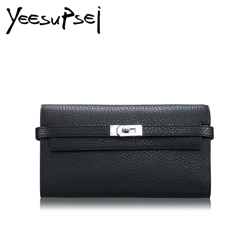 YeeSupSei Long Wallet Genuine Leather Famous Brand Luxury Purse For Lady Cards Holder Lock Bag Wallets Elegant Clutch Female Bag foxer famous brand women cow leather long wallets female clutch bag fashion coin holder luxury purse for lady women s wallet