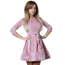 2017 Automne Hiver Femmes Élégant Velours Robe O Cou Long manches Casual Mini Parti Robe Solide Vintage A-ligne Robes Robe Femme