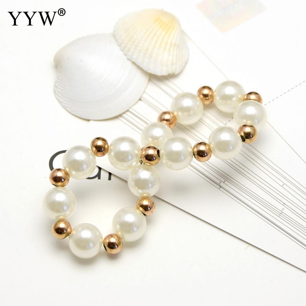 New Fashion Plastic Charm Bracelet With Plastic Pearl And Stainless Steel Gold Color Plated Beads For Elegant Girl Woman