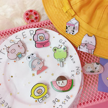 Pink Smile Brooch Watermelon Acrylic Cartoon Pig Cute Carrot Scarf Flower Sweater Animal Brooches hijab Broches Mujer pins(China)