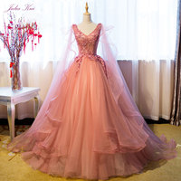 Julia Kui Vintage Organza V Neck Ball Gown Quinceanera Dresses Beading Pearls Appliques Elegant Formal Dresses Lace Up Customize