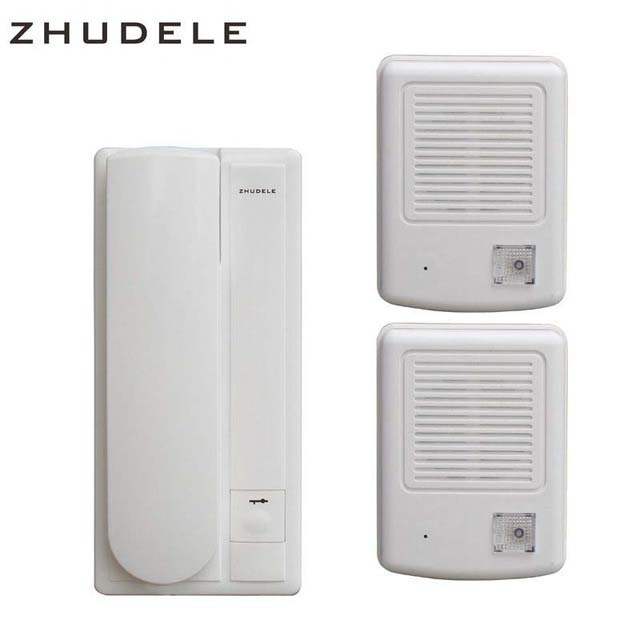 ZHUDELE New Arrival 2-Wired Audio Doorphone, Home Security Intercom System Doorbell w/t Intercom & Unlocking Functions 2to1