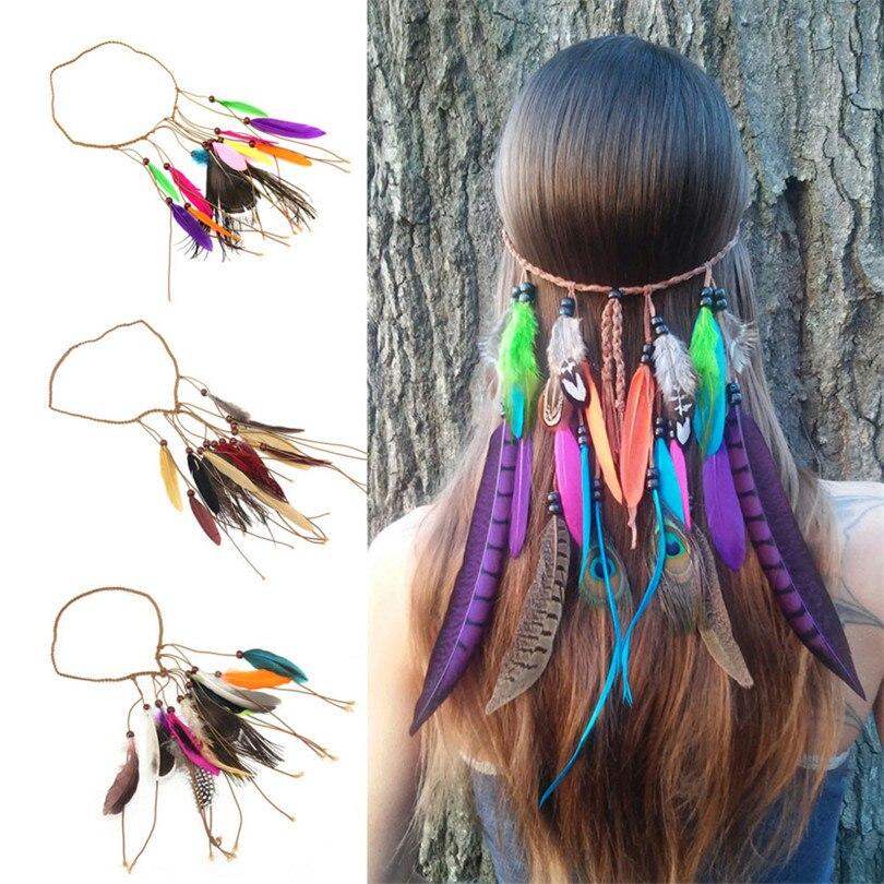 Hot Fashion Bohemian Festival Feather Headband Hippie Headdress Hair Accessories Boho Peacock Feather Headdress For Women defender avr typhoon 800