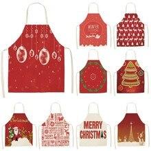 1Pcs אדום חג המולד סינר סינר כותנה פשתן סינרים 53*65cm למבוגרים ליקוק בית מטבח בישול אפיית ניקוי אביזרי CM1005