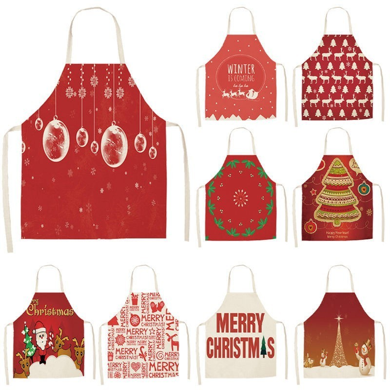 1Pcs Red Christmas Apron Pinafore Cotton Linen Aprons 53*65cm Adult Bibs Home Kitchen Cooking Baking Cleaning Accessories CM1005