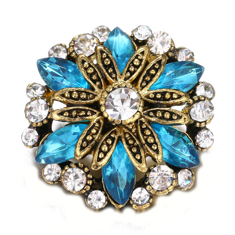 10pcs/lot High Quality Charm Rhinestone Styles Alloy 18mm Snap Button Bracelet For Woman Snap Button Jewelry